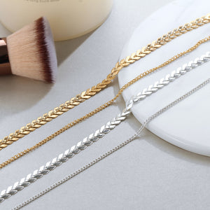 MilkySkinForever New Chain Choker Two Layers Necklaces Fishbone Airplane Shape Gold Color Necklace Flat Chain jewelry
