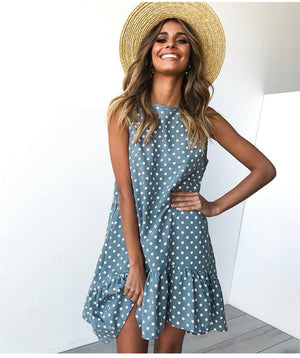 MilkySkinForever Women Summer Dress Fashion Polka Dot Sleeveless Beach Mini Dress For Women Casual Print Short Loose Blue Sundress