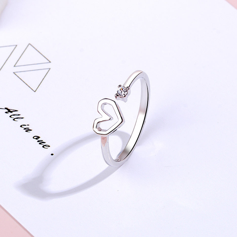 MilkySkinForever Love Heart Zircon Adjustable Ring Copper Alloy silver plated Resizable Rings Fashion Trendy Women Jewelry Birthday Gift