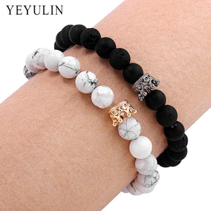 MilkySkinForever Trendy Black White Stone Beads with Gold Silver Color Alloy Crown Bracelet For Women Men Couple Bangles Jewelry