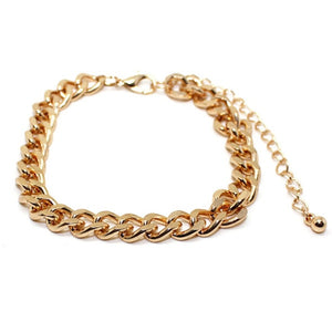 MilkySkinForever Fashion Gold Color Cuban Link Bracelet Curb Chain Bracelet Men Women Hippie Hip hop Jewelry Wholesale Party Gifts