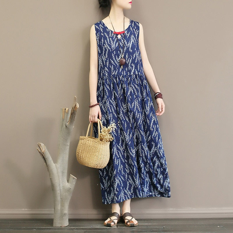 MilkySkinForever Sleeveless dress summer thin floral slub cotton temperament waist length and ankle vest skirt dress inside