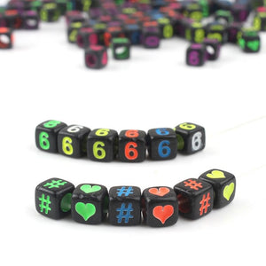 MilkySkinForever Mixed Letter Acrylic Beads Round Flat Alphabet Digital Cube Loose Spacer Beads For Jewelry Making Handmade Diy Bracelet Necklace