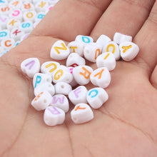 Load image into Gallery viewer, MilkySkinForever Mixed Letter Acrylic Beads Round Flat Alphabet Digital Cube Loose Spacer Beads For Jewelry Making Handmade Diy Bracelet Necklace
