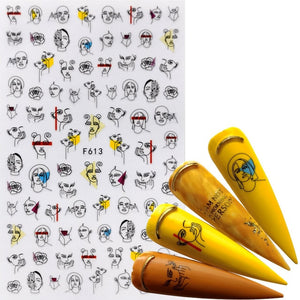 MilkySkinForever 1 PC Comic Adhesive 3D Nail Sticker Foil Decals For Nails Sticker Art Cartoon Nail Art Decorations Designs Tool