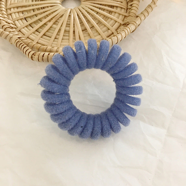 MilkySkinForever Elastic Knit Telephone Wire Hair Bands Girl Woman Hair Accessories Rubber Band Headwear Hair Rope Spiral Shape Hair Ties