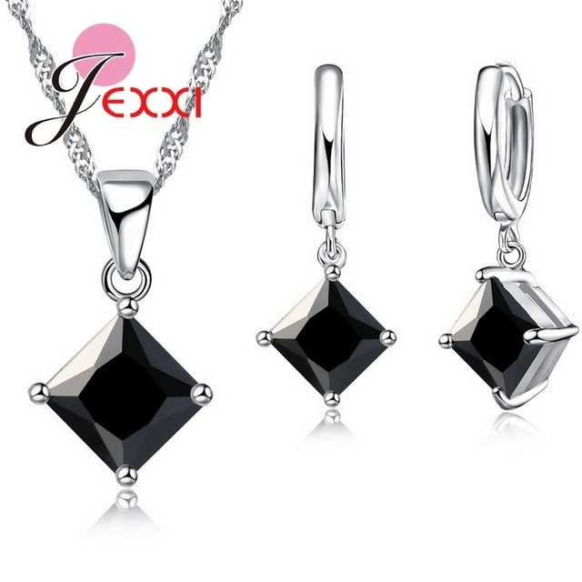 MilkySkinForever New Arrival 925 Sterling Silver Women Accessories Earrings Jewelry Set With Shiny Square Shinny CZ Necklace Earrings