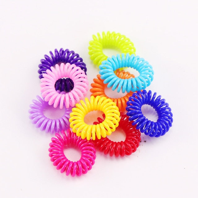 MilkySkinForever 10PCS/Lot New 2cm Small Telephone Line Hair Ropes Girls Colorful Elastic Hair Bands Kid Ponytail Holder Tie Gum Hair Accessories