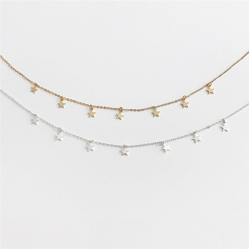 MilkySkinForever Gold Color Star Party Women's Pendant Necklace Fashion Female Choker Necklaces Jewelry Simple Ladies Pentagon-Star Jewelry Gifts