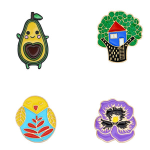 MilkySkinForever Enamel Plant Tree Avocado Purple Flower Owl Pins Cartoon Funny Brooches For Friends Bag Clothes Lapel Pin Badge Jewelry