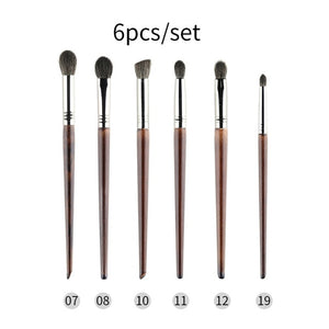 MilkySKinForever Cosmetic 6 pcs Ultra Soft Goat Hair Makeup Eye Shadow Brush Set Tool trucchi pennelli Tapered Blender Diffuse Kit Cut Crease
