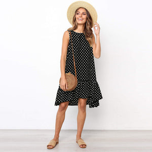MilkySkinForever  Dot Women Dress Summer Sleeveless Casual A Line Loose Plus Size Dresses Beach Short Mini Sundress