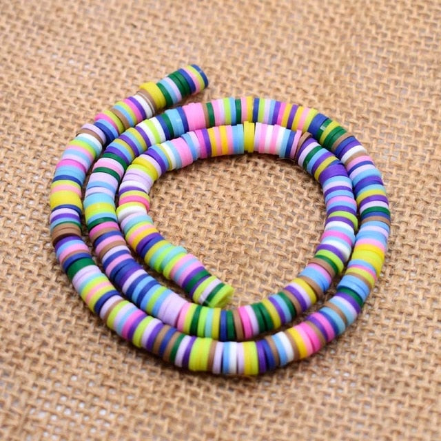 MilkySkinForever 6mm Flat Round Polymer Clay Beads Chip Disk Loose Spacer Handmade Beads For DIY Jewelry Making Bracelet Finding Mixed Color