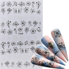 Load image into Gallery viewer, MilkySkinForever 1 PC 3D Nail Slider Black Russia Letter Sticker Decals Flamingo Design Adhesive Manicure Tips Nail Art Decorations