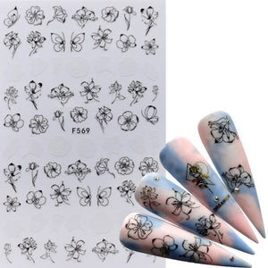 MilkySkinForever 1 PC 3D Nail Slider Black Russia Letter Sticker Decals Flamingo Design Adhesive Manicure Tips Nail Art Decorations