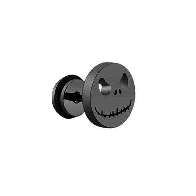 MilkySkinForever 1 pair Punk Black Multiple Styles Stainless/Titanium Steel Stud Earrings For Men and Women Gothic Street Pop Hip Hop Ear Jewelry