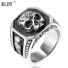 Load image into Gallery viewer, MilkySkinForever Gothic men's ring biker skull ring viking stainless steel eagle male rings men jewelry bague homme Titanium steel drop ship