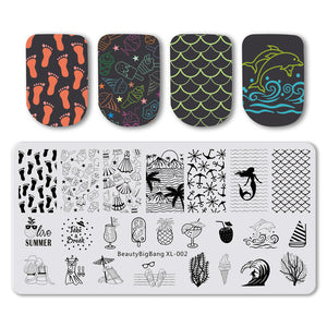 MilkySkinForever Nail Stamping Plates Natural Animal Snake Scale Flower Wolf Theme Image 12*6cm Template Mold Nail Art Stencil