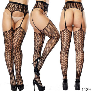 MilkySkinForever Women Sexy Lingerie Stockings Garter Belt Fishnet Tights Transparent Pantyhose  Thigh High  Cheap Embroidery Stockings