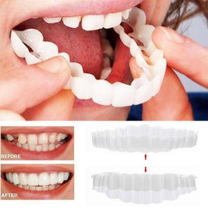 MilkySkinForever 2pcs Snap On Smile Teeth Veneers Whitening Cosmetic Denture Instant Perfect Smile Teeth Fake Tooth Cover Oral Hygiene Tools