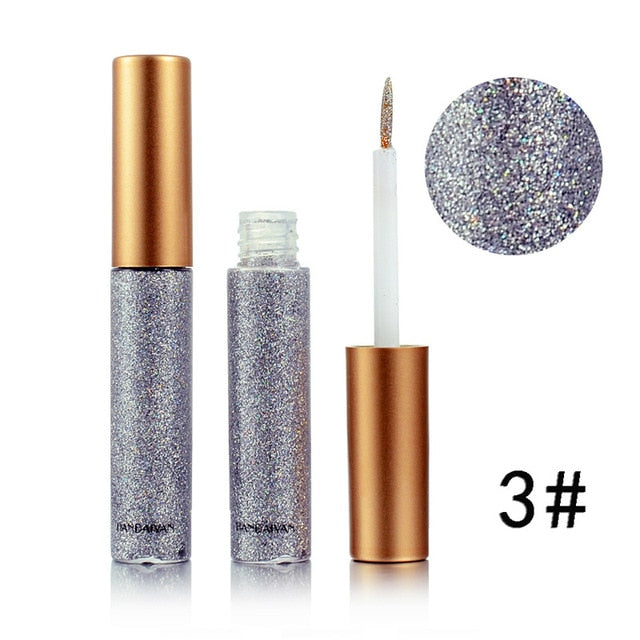 MilkySkinForever Brand New 10 Colors White Gold Glitter Eyeshadow For Easy to Wear Waterproof Liquid Eyeliner Beauty Eye Liner Makeup