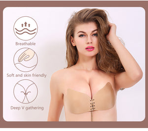 MilkySkinForever Seamless Adhesive Bra Invisible Silicone Backless Bralette Strapless Push Up Bra Sexy Lingerie Fly Bra Women Underwear
