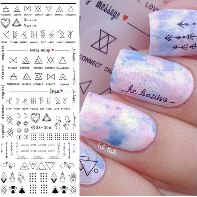 MilkySkinForever 3D Nail Stickers Gold Silver Metal Black Geometric Flower Patterns Adhesive Transfer Decals Nail Art DIY Design Decoration Tools