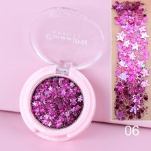 Load image into Gallery viewer, MilkySkinForever Cheapest Face Eye Highlight Powder Eyeshadow Palette  Shining Sequins Pentagram Moon Diamond Fragment Eye Shadow TSLM1