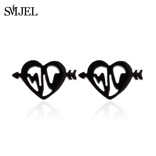 MilkySkinForever Stainless Steel Earrings Mickey Women Men Hip hop Black Star Moon Stud Earring Fashion Jewelry Best Gift for Friend Girl