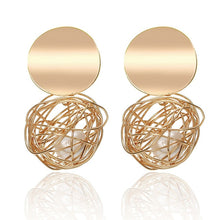 Load image into Gallery viewer, MilkySkinForeverSimple fashion gold color Silver plated geometric big round Clip earrings for women fashion big hollow Ear clip jewelry