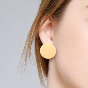 MilkySkinForeverSimple fashion gold color Silver plated geometric big round Clip earrings for women fashion big hollow Ear clip jewelry