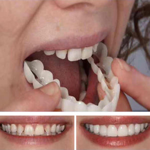 MilkySkinForever 3PCS Denture Teeth Whitening Fake Tooth Cover Comfort Fit Snap On Silicone Beauty Veneers Teeth Upper Cosmetic Teeth