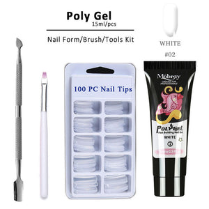 MilkySkinForever 4pcs/kit Poly Gel Set LED Clear UV Gel Varnish Nail Polish Art Kit Quick Building For Nails Extensions Hard Gel Polygel Nail Kit