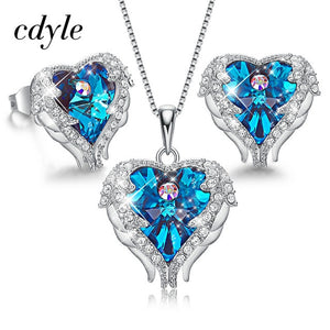 MilkySkinForever Angel Wings Heart Shaped Necklace Earrings Set Wedding Bridal Women Jewelry Set with Top Quality Crystal 4 Color Available