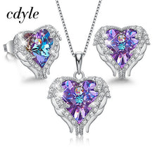 Load image into Gallery viewer, MilkySkinForever Angel Wings Heart Shaped Necklace Earrings Set Wedding Bridal Women Jewelry Set with Top Quality Crystal 4 Color Available