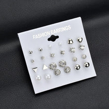 Load image into Gallery viewer, MilkySkinForever 12 pairs White Simulated Pearl Earrings Set For Women Jewelry On Ear Ball Stud Earrings kit Bijouteria brincos Bijoux