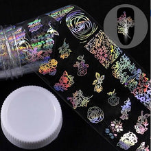 Load image into Gallery viewer, MilkySkinForever 4*100cm/Roll Holographic Nail Foil Flame Dandelion Panda Bamboo Holo Nail Art Transfer Sticker Water Slide Nail Art Decals