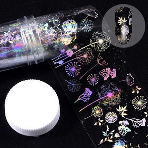MilkySkinForever 4*100cm/Roll Holographic Nail Foil Flame Dandelion Panda Bamboo Holo Nail Art Transfer Sticker Water Slide Nail Art Decals