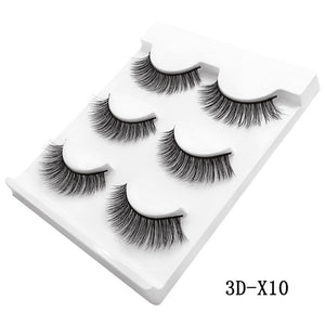 MilkySkinForever 3 Pairs natural false eyelashes thick makeup real 3d mink lashes soft eyelash extension fake eye lashes long mink eyelashes 3d