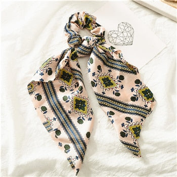 MilkySkinForever Fashion Floral Print Scrunchie Silk Elastic Hair Band For Women Hair Scarf Bows Rubber Ropes Girls Hair Ties Hair Accessory