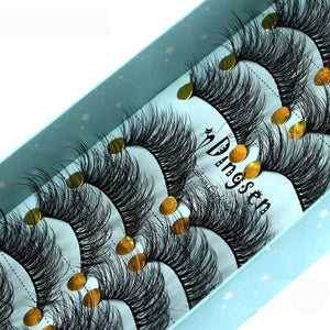 MilkySKinForever 10 Pairs 3D Soft Faux Mink Hair False Eyelashes Natural Messy Eyelash Crisscross Wispy Fluffy Lashes Extension Eye Makeup Tools