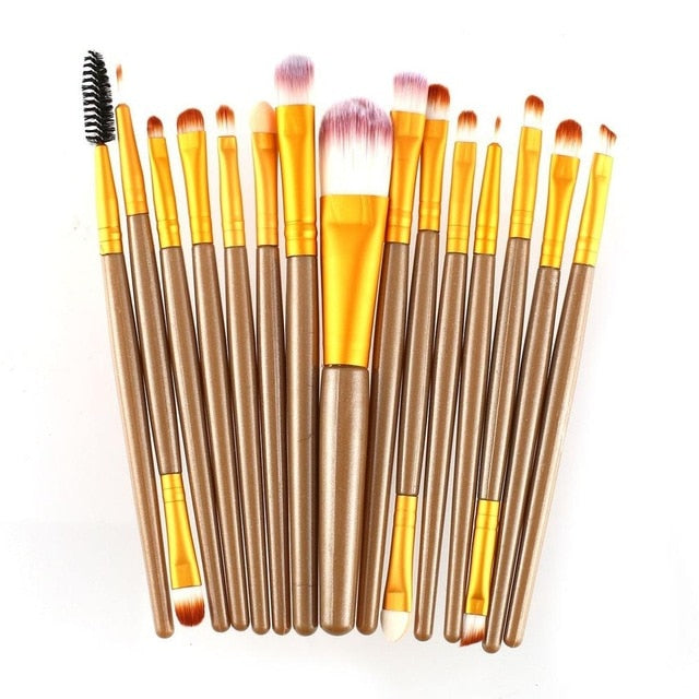 MilkySkinForever 15pcs/set Makeup Brushes Sets Kit Eyelash Lip Foundation Powder Eye Shadow Brow Eyeliner Cosmetic Make Up Brush Beauty Tool