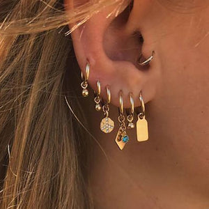 MilkySkinForever New Boho Multi-Element Crystal Set Earring For Women Fashion Pendant Piercing Geometric Stud Earrings Jewelry