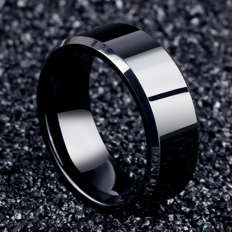 MilkySkinForever Fashion Charm Jewelry ring men stainless steel Black Rings For Women