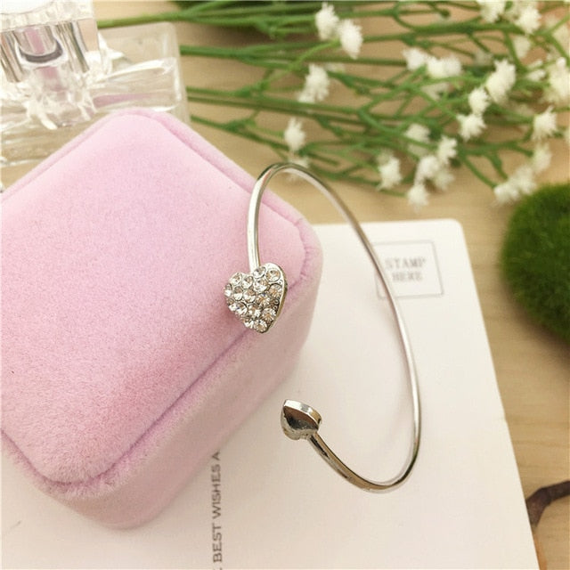 MilkySkinForever Hot New Fashion Adjustable Crystal Double Heart Bow Bilezik Cuff Opening Bracelet For Women Jewelry Gift Mujer Pulseras 7g