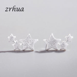 MilkySkinForever 925 Sterling Silver Needle Women Jewelry Fashion Brincos Chic Stud Earrings for School Girls Kids Lady Gift pendientes oorbellen