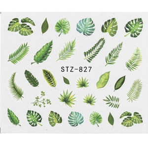 MilkySkinForever 1Pcs Water Nail Decal and Sticker Flower Leaf Tree Green Simple Summer DIY Slider for Manicure Nail Art Watermark Manicure Decor