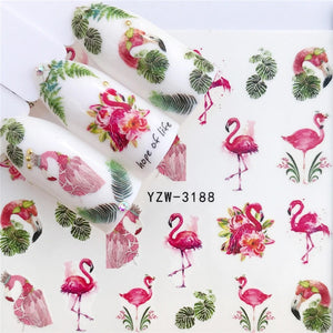 MilkySkinForever 32 Designs Flamingo Fruit/Flower Series Nail Water Decals Dream ChaserPattern Tranfer Sticker  Nail Art Decoration