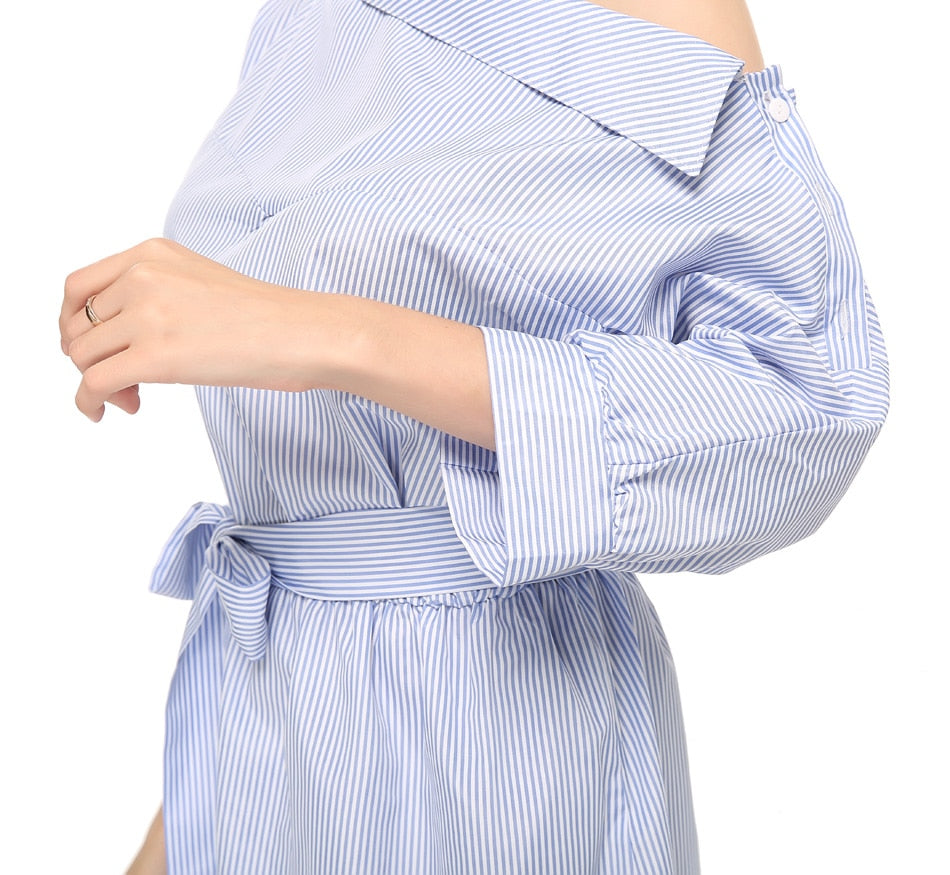 MilkySkinForever Summer Women Dress Blue Striped Shirt Short Dress Mini Sexy Side Split Half Sleeve Beach Dresses