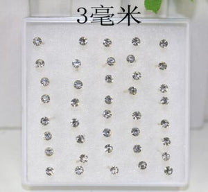 MilkySkinForever  8 10 20 pairs/set crystal Stud Earrings colorful fashion earring for women jewelry silver color piercing 2.5/3/4/5